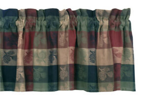 New-Primitive-Country-Rustic-Cabin-Lodge-WINE-GREEN-PINE-CONE-Valance-Curtains