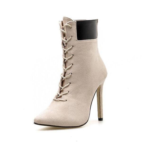 stivali eleganti stivaletti stiletto beige comodi eleganti stivali 11 cm simil pelle 1404 8a9910