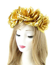 Large Gold Rose Flower Headband Halloween Sugar Skull Garland Hair Crown 756