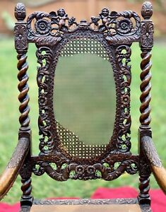 Charles-Antique-Carved-Wood-Victorian-Castle-Hall-Chair-Jacobean-Barley-Twist
