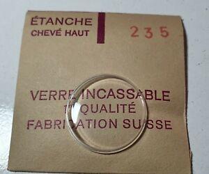 Verre-de-montre-suisse-bombe-plexi-diametre-235-Watch-crystal-vintage-NOS