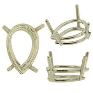 14K-White-Gold-Pear-Wire-Basket-Setting-Mounting-4-Prong-0-20ct-17-00ct-USA