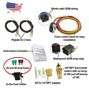 185 165 dual electric cooling fan wiring harness install thermostat rh ebay com spal electric fan wiring harness electric fan wiring harness silverado