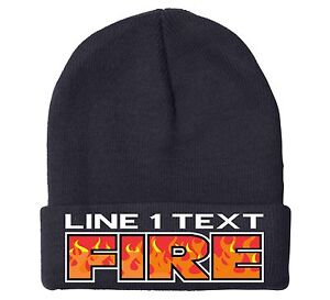 Firefighter-Winter-Hat-Custom-Embroidered-034-Fire-Flame-034-Style-Winter-hat