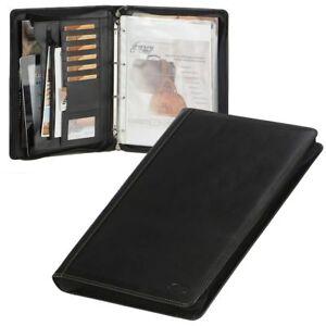 Bear-Design-Schreibmappe-A4-Leder-schwarz-Ringbuchmappe-Aktenmappe