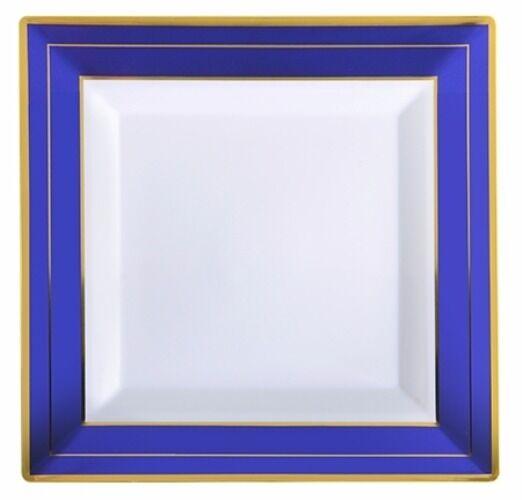120 10  Square Dinner Wedding Plates COBALT Blau Weiß-Gold Rim Heavy Disposable