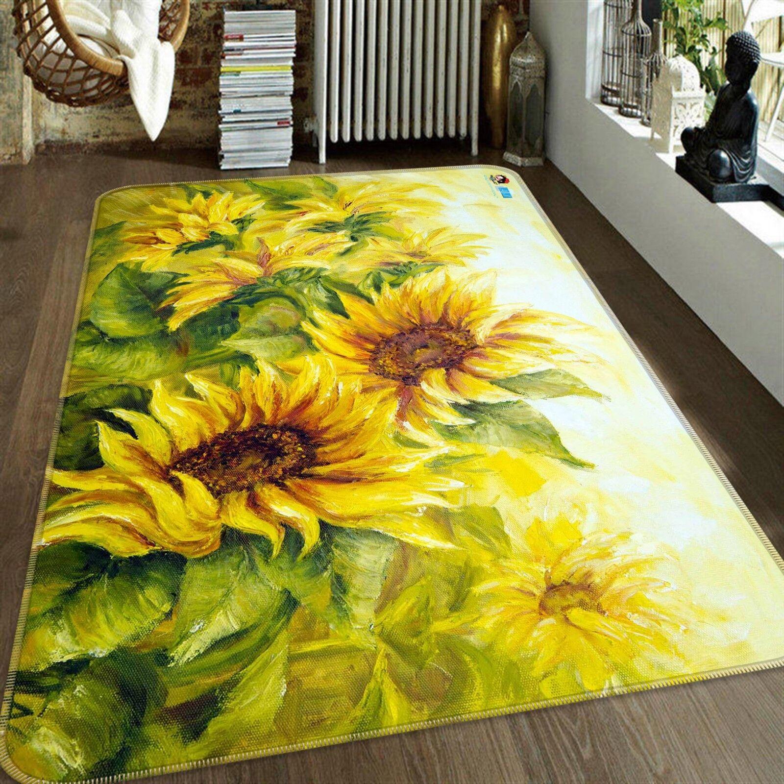 3D Draw Sunflowers 42 Tapis antidérapant pour tapis Tapis de qualité élégant tapis photo UK