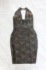 Latex Rubber Gummi Lace Black Plunge Pencil Wiggle Dress Pinup UK8-10