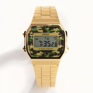588575557d96 La foto se está cargando Reloj-Casio-dorado-camuflaje-A-168-WEGC-3-