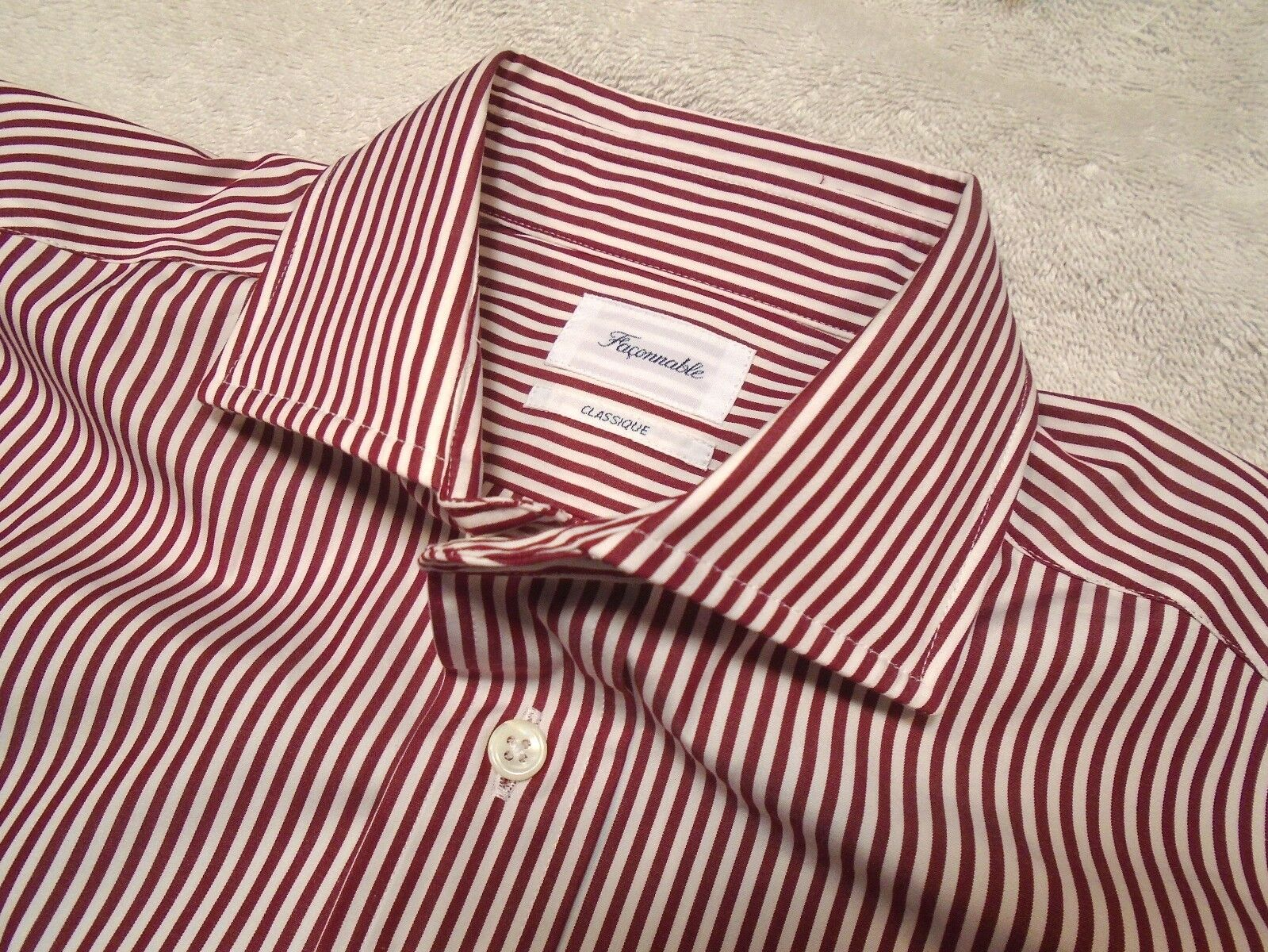 Faconnable Striped 100% Cotton Spread Collar Dress Shirt NWT 15 x 35/36 235