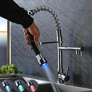Chrome-Finish-Kitchen-Sink-Faucet-LED-Light-Pull-Down-Sprayer-Swivel-Mixer-Tap
