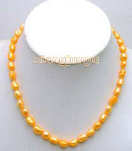 SALE-Big-7-9mm-Orange-BAROQUE-natural-Freshwater-PEARL-17-Necklace-5785
