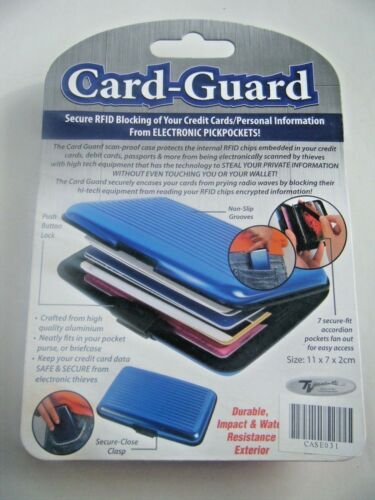 Aluminum Card Guard Secure RFID Blocking Credit Card Holder White /& Multi New