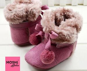 Purple-Baby-Fur-Bobble-Boots-Winter-Warm-Soft-Pram-Cot-Shoes-by-Moshi-Babies
