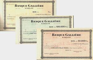 Sarlat-lot-lot-de-3-bons-de-la-Banque-Galliere-annee-1953