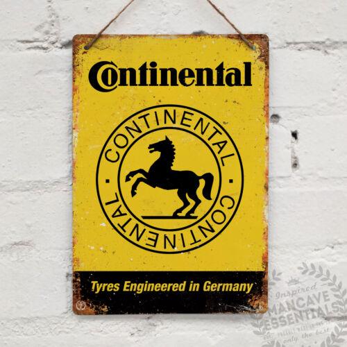 Continental Vintage Métal Mural Signe Plaque Rétro Garage Abri Voiture Vélo Pneu GP