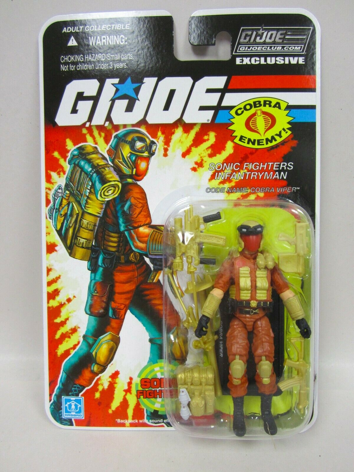 G.I. JOE COLLECTOR'S CLUB FSS Final 12 Sonic Fighter Viper Action Figure Comme neuf on Card New