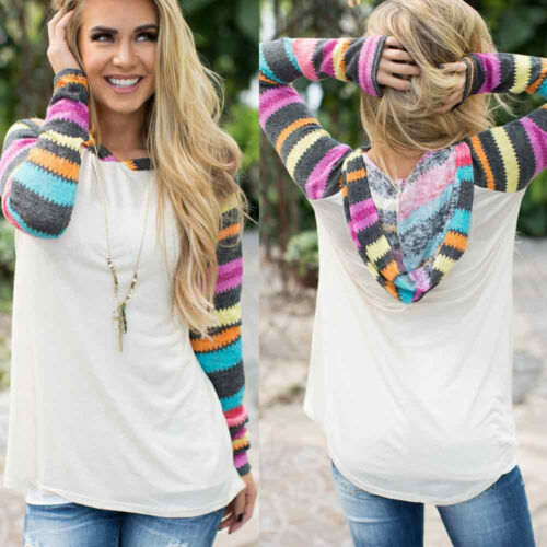 Womens Casual Loose T Shirt  Long Sleeve Blouse Hooded Pullover Sweatshirt Tops