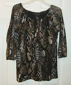 Grace-Elements-Sz-S-Animal-Print-Sheer-Top-3-4-Sleeve-Blouse