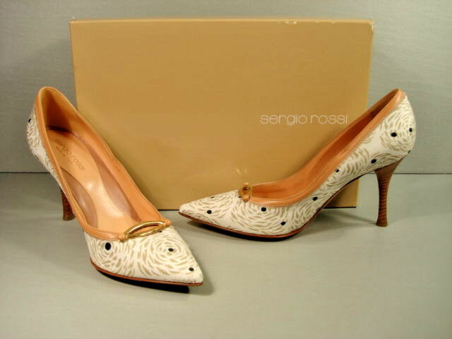 SERGIO ROSSI Beige Beige Beige Leather Swirl Pattern Point Toe Heels Pumps 37 7 Discount New b970b3