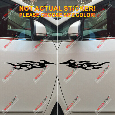 White Pair Mirror Imaged Flame Fire Front Car Decal Bumper Sticker