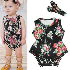 Cotton Romper Baby Girl Infant Jumpsuit Bodysuit Headband Clothes Outfit 80cm