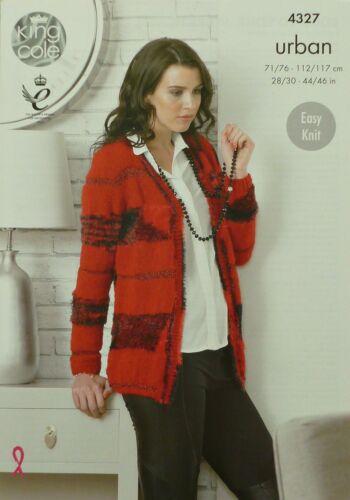 KNITTING PATTERN Ladies Easy Knit Long Sleeve V-Neck Jacket Urban 4327