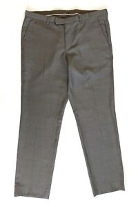 Hugo-Boss-Mens-Trousers-Taupe-Grey-Flat-Front-Office-Pants-Size-36R-Wool-Recent