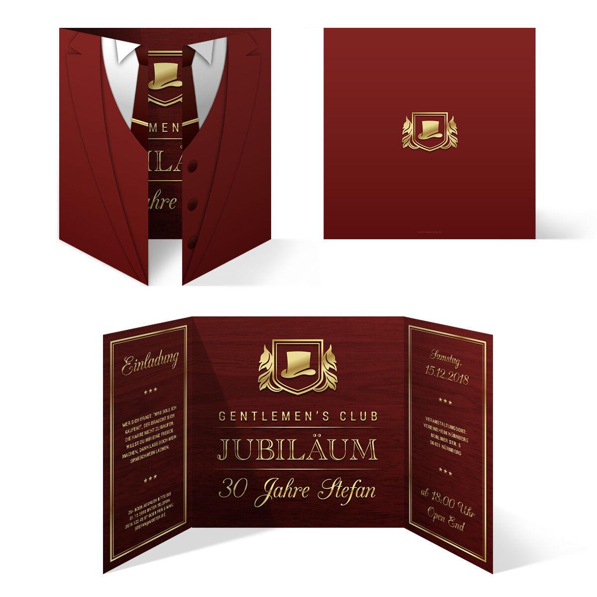 Geburtstag Einladungskarten Einladung Karten Altarfalz 148mm - Gentleherren Club | Quality First  | Moderne Technologie