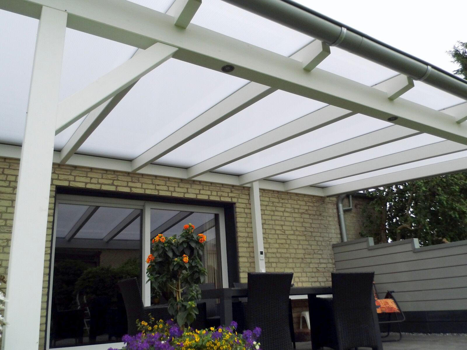 Terrassendach 3 Stegplatten 980mm opal 7m Länge mit Zubehör Terrassenüberdachung