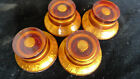 4 piece Genuine Epiphone Bell Hat Speed Knobs Amber