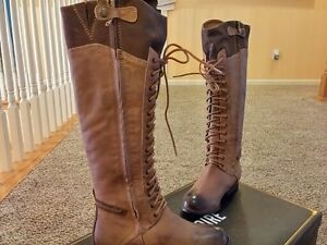 $278 New Pour La Victoire women Fashion Riding Leather Boots Sz 7 Brown