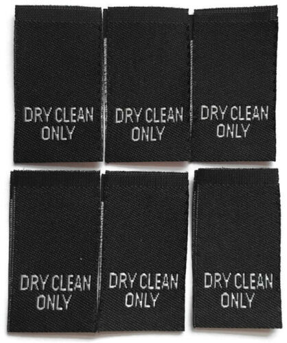 10 Dry Clean Only Woven Tag Labels Clothing Garment Label Tags Cut /& Loop Folded