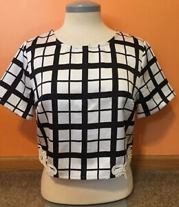 Women-s-Jealous-Tomato-Black-And-White-Plaid-Crop-Top-Blouse-Size-Medium