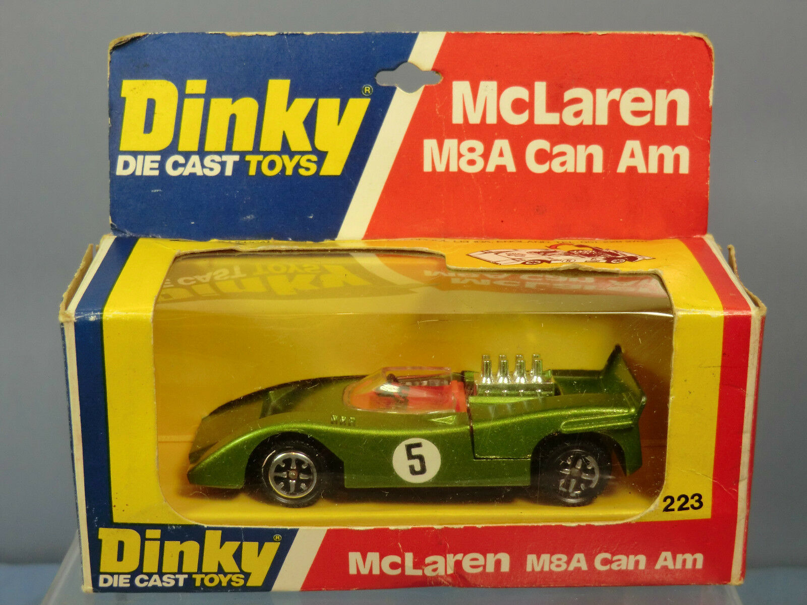 DINKY TOYS MODEL No.223 mclauren M8A CAN AM AM AM  RACING No.5  VERSIONE VERDE  Nuovo di zecca con scatola ee0a02