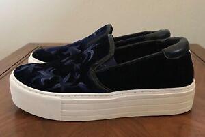Kenneth-Cole-Alesy-Blue-Suede-Velvet-Platform-Slip-On-Sneakers-Shoes-Size-8-5