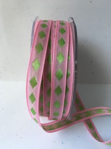 Pink//Green 3//8 inch Solid Diamond Ribbon May Arts AD20-5 Yards
