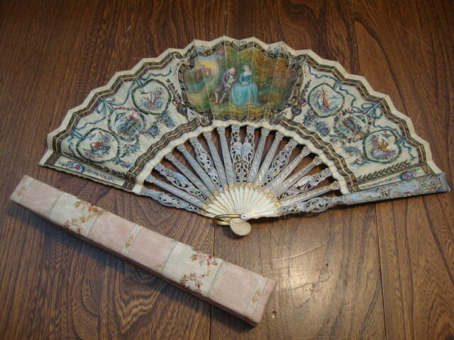 Antique Hand Painted Fan Lovers Scene & Carved Bone In Box