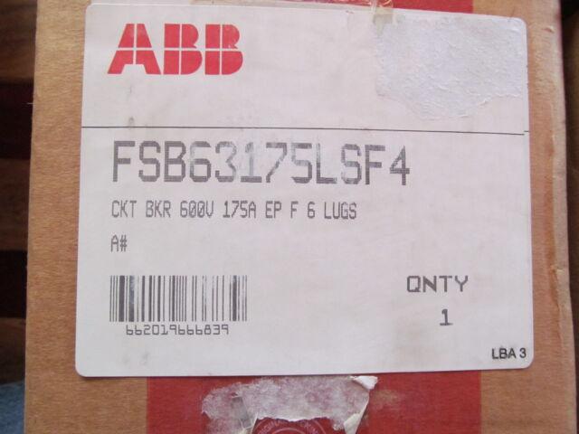NIB ABB FH FHB63175L 175 AMP 3 POLE 600 V CIRCUIT BREAKER FHB FACTORY SEALED