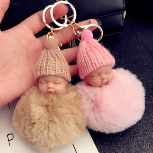 7048 Sleeping Baby Plush Doll Key Chain Keyring Pendant Hand Bag Decoration
