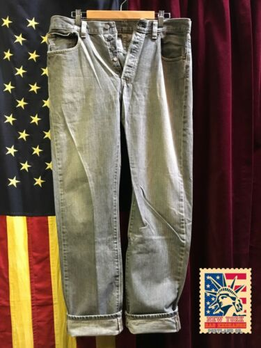 Levi's 501's jeans grey Distressed Work Denim W36… - image 1