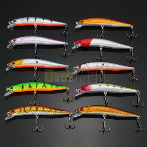 Lot 20pcs Kinds of Fishing Lures Crankbaits Hooks Minnow Baits Tackle Crank USA