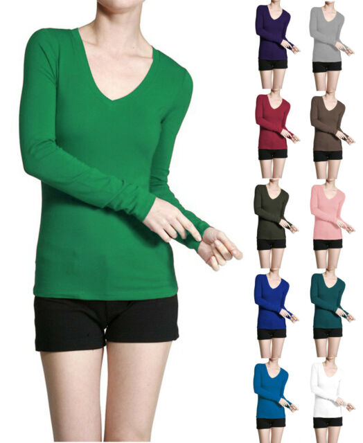 Basic V NECK Long Sleeve Fitted Solid Top Womens Plain Cotton Stretch T-Shirt