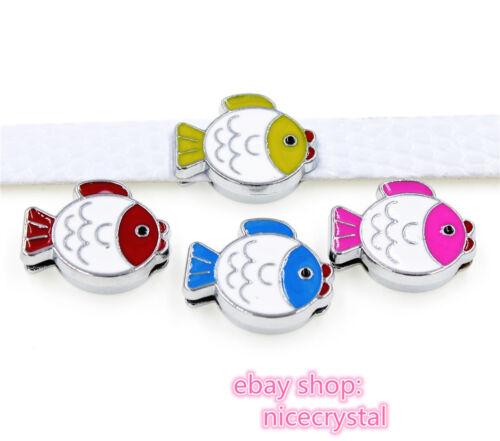 5pcs 8mm fish Slider Charms Fit DIY Name Bracelet//Phone strip//Pet Collar SL472