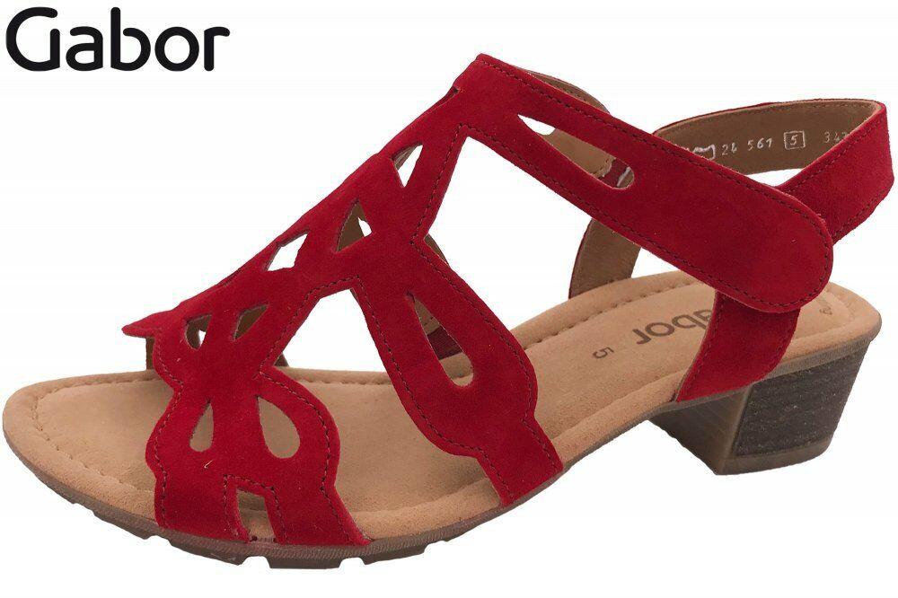 Gabor Damen Sandalette Rot Schuhe Leder Sommer 24561-15