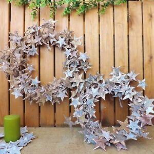GRANDE-corteccia-di-betulla-naturale-Glitter-Stelle-ROUND-Rattan-Decorazione-Di-Natale-Corona