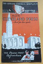 1933 New York Yankees at Cleveland Indians Program / Scorecard Lou Gehrig