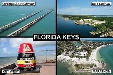 SOUVENIR FRIDGE MAGNET of THE FLORIDA KEYS & KEY WEST & KEY LARGO