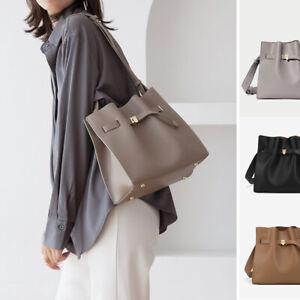 Small Real Leather Wide Strap Bucket Shoulder Bag Belt Purse Crossbody Work Bag