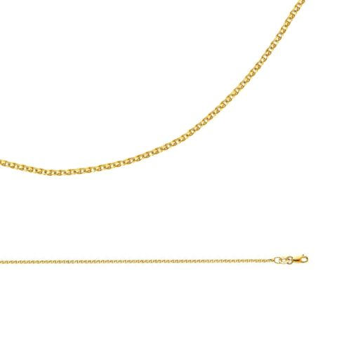 1.5 mm Solid 14k Yellow Gold Necklace Wheat Chain Flat Open Cable Thin